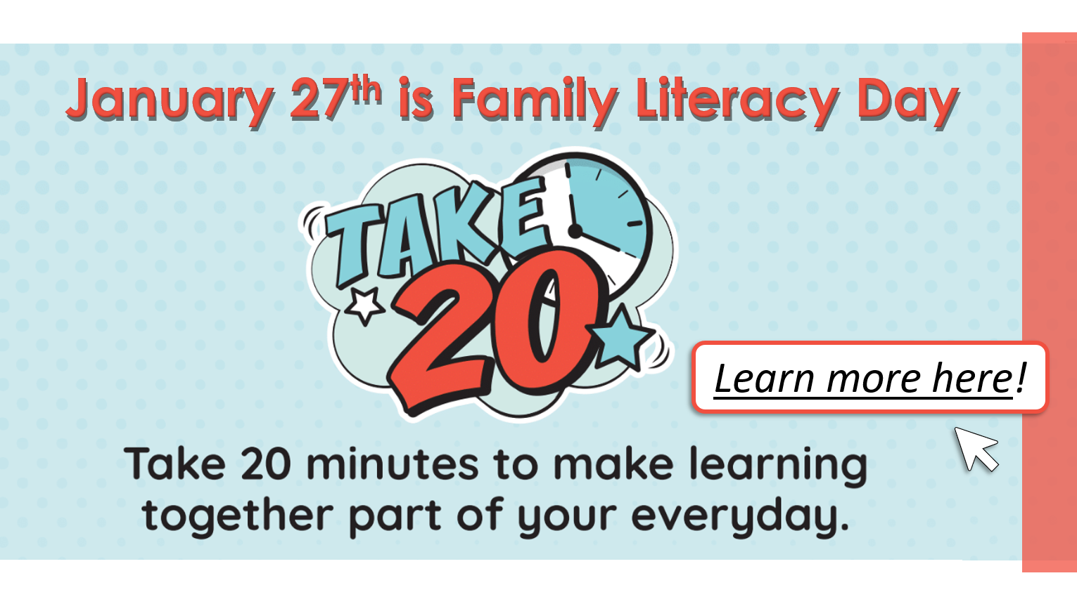 January 27th is Family Literacy Day 2020 - Take 20 in 2020