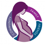 Prenatal Caring Circle logo with a pregnant person and the words 'Community, Family, Friends' in a circle around them.